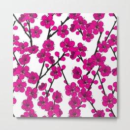 Pink Cherry Blossom Pattern Metal Print