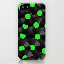 Vinyl Records Pattern (Green) iPhone Case