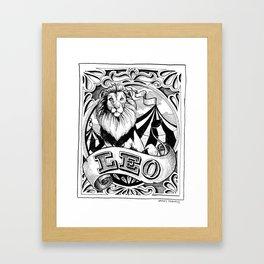 leo horoscope pointed pen & ink illustration Framed Art Print