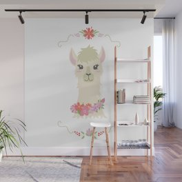 Floral Bust of a Llama Wall Mural