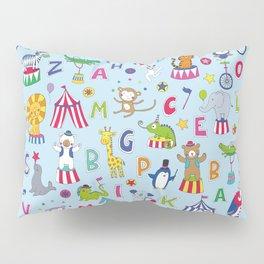 Circus Animal Alphabet - multi on pale blue Pillow Sham