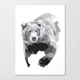 Geometric Bear on White Canvas Print