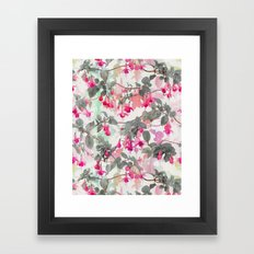 Rainbow Fuchsia Floral Pattern - with grey Framed Art Print