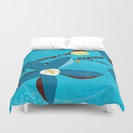 Blue Saucer Magnolia Duvet Cover