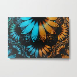 Shikoba Fractal -- Beautiful Leather, Feathers, and Turquoise Metal Print