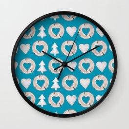 Xmas Classics Teal Wall Clock