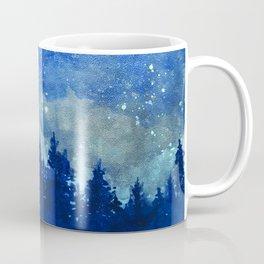 Night Sky, Meteor Shower, Forest at Dusk Coffee Mug