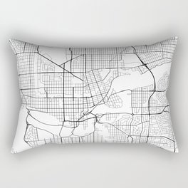 Edmonton Map, Canada - Black and White Rectangular Pillow