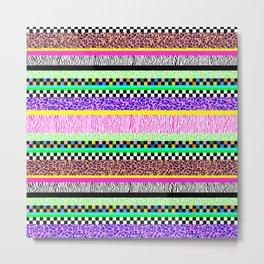 Leopard Zebra Check Stripe Mixed Pattern - Horizontal II Metal Print