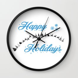 Happy Holidays Wall Clock
