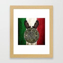 MEXICAN EAGLE AZTEC CALENDAR FLAG Framed Art Print
