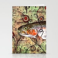trout Stationery Cards featuring Trout Collage by MoosePaw