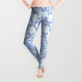 Peonies and Paisley in Blue and White Leggings