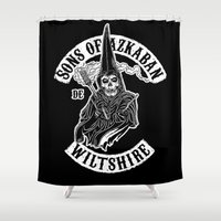 sons of anarchy Shower Curtains featuring Sons of Azkaban v2 by Six Eyed Monster