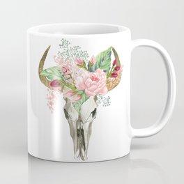 Bohemian bull skull with flowers Coffee Mug