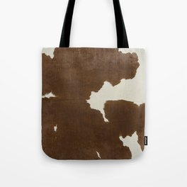 Dark Brown & White Cow Hide Tote Bag