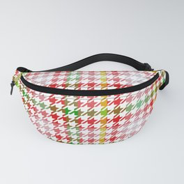 Houndstooth Classic Red Green Yellow Plaid Fanny Pack
