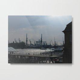 Hamburg Harbour View Metal Print
