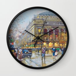 Theater du Chatelet, Paris, France by Eugene Galian Laloue Wall Clock