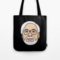 hayao miyazaki Tote Bags featuring Hayao Miyazaki Portrait - Black by Cedric S Touati