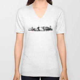 Thessaloniki skyline city black Unisex V-Neck
