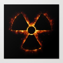 Nuclear Icon in Fire Canvas Print