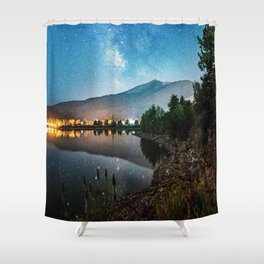 Grainy Nighttime Tones // Lake View Fuzzy Lens Photograph Beautiful Landscape with Mountains Shower Curtain