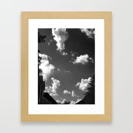 Black and White clouds Framed Art Print