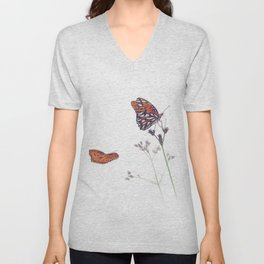 Gulf Fritillary butterflies in a meadow on white background Unisex V-Neck