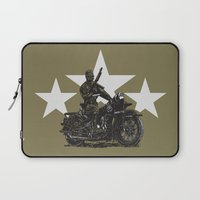 military Laptop Sleeves featuring Military Harley by Ernie Young