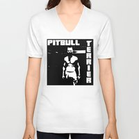 pitbull V-neck T-shirts featuring Zef Pitbull by Jera Sky