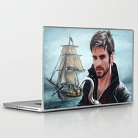 captain hook Laptop & iPad Skins featuring The Captain by Svenja Gosen