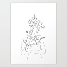 Minimal Line Art Woman with Wild Roses Art Print