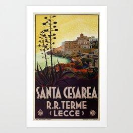 Vintage Italian travel Santa Cesarea Terme Lecce Art Print