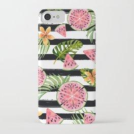 Watermelon black stripes iPhone Case