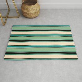 Dark Sea Green, Dark Cyan, Bisque, and Black Colored Striped Pattern Rug