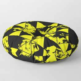 Splatter Triangles In Black And Yellow Floor Pillow