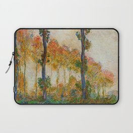 Autumn Trees in full fall foliage by the marshes landscape painting by Claude Monet Laptop Sleeve