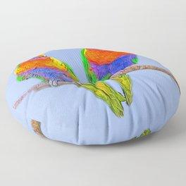Cute rainbow loris - lorikeet Floor Pillow