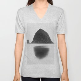 Cannon Beach Haystack Rocks - Black and White Unisex V-Neck