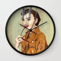 audrey hepburn Wall Clocks featuring Audrey Hepburn by FAMOUS WHEN DEAD