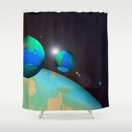 personal planets orbit dying earth Shower Curtain