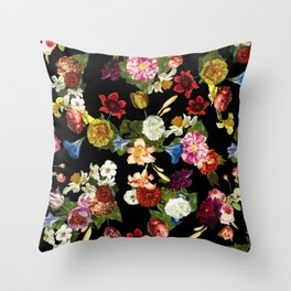 Flowery (black version) Throw Pillow