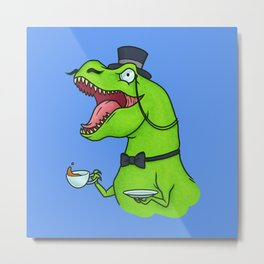 Tea Rex Metal Print