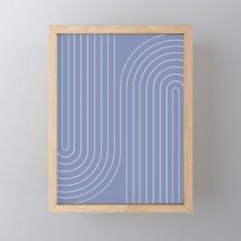 Minimal Line Curvature - Blue Framed Mini Art Print