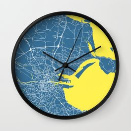 Dublin Map   Ireland   Blue & Yellow Colors   More Colors, Review the Collections Art Print Wall Clock
