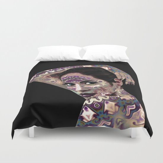 Portrait in the style of body art Duvet Cover