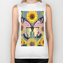 ABSTRACT PINK BUTTERFLY TEAL GARDEN SUNFLOWER Biker Tank