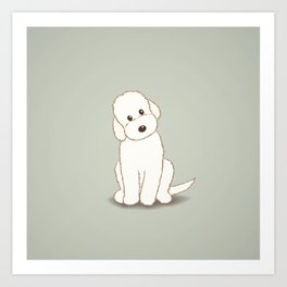 Cream Labradoodle Dog Illustration Art Print