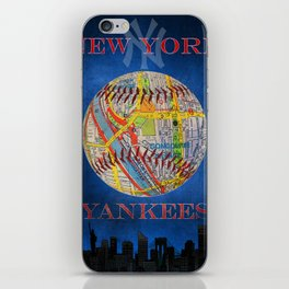 Yankees poster with map of stadium iPhone Skin